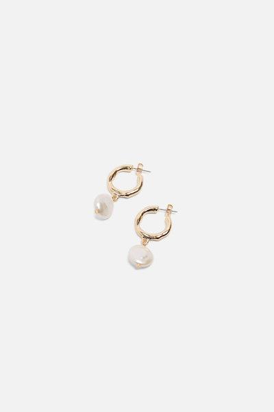 Hoop And Pearl Earrings
