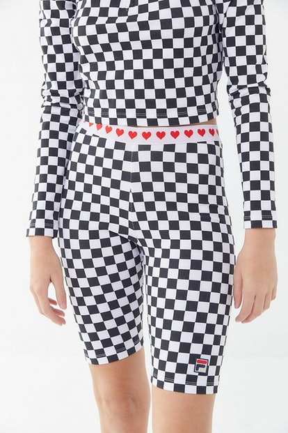 FILA X Disney Villains UO Exclusive Queen Of Hearts Checkered Bike Short