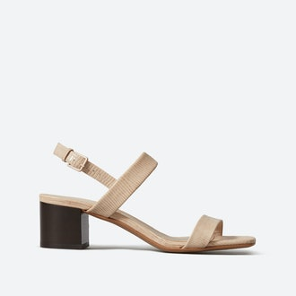 The Double-Strap Block Heel Sandal - Sand Lizard