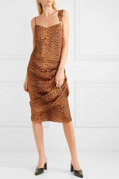 Purse Pull Ruched Leopard-Print Satin-Twill Dress