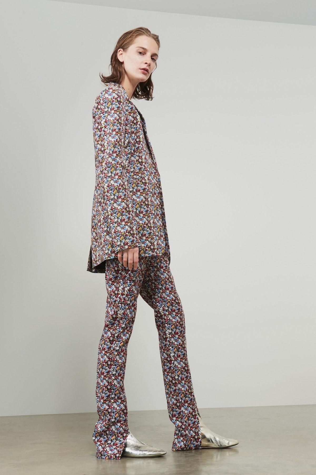 Front-Split Skinny Trousers
