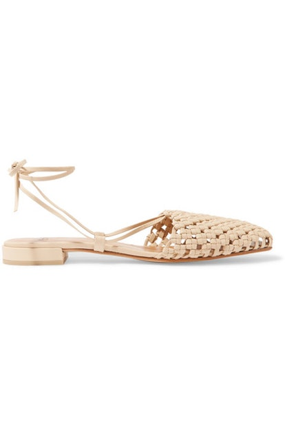 Costa Lace-Up Woven Leather Flats
