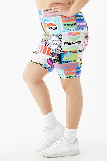 Plus Size Pepsi Print Biker Shorts