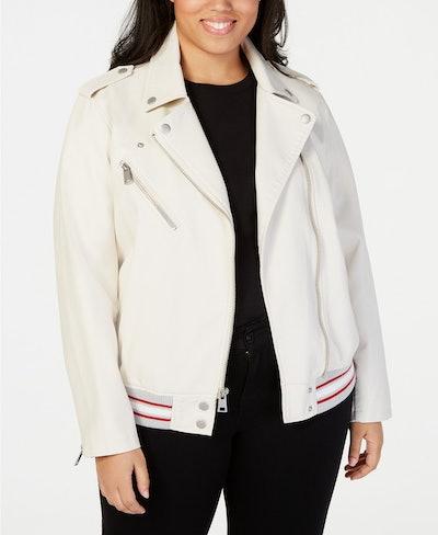Plus Size Faux-Leather Moto Jacket