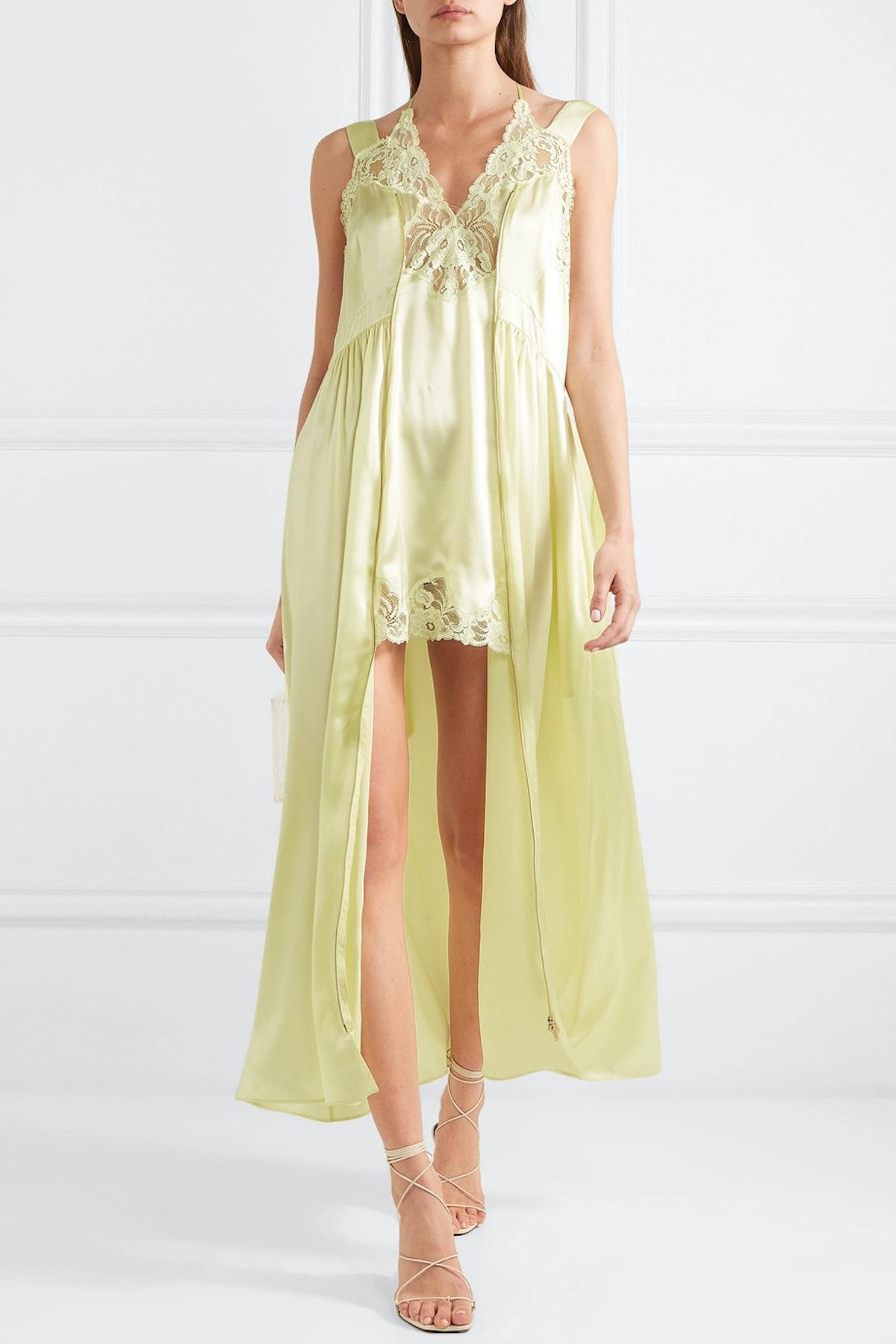 Lace-Trimmed Silk Satin Midi Dress