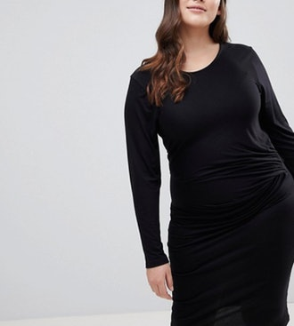 Bodycon Midi Dress With Knot Front Detail