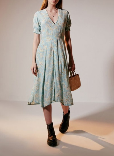 Ari Floral Puff Sleeve Midi Dress