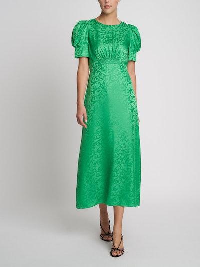 Bianca Leaf Green Silk Dress