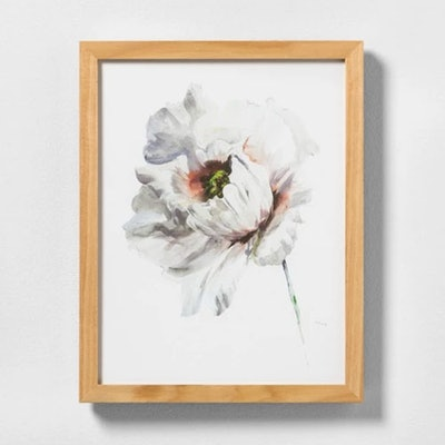 White Flower Wall Art With Frame