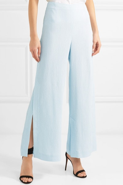 Glover Embroidered Cloqué Wide-Leg Pants