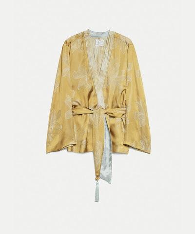 Sirena Jacquard Jacket with Sash Belt