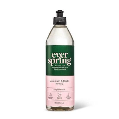Geranium & Herbs Liquid Dish Soap - 18 fl oz - Everspring
