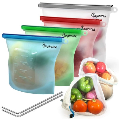 inspiratek Reusable Silicone Food Bags (Set of 4)
