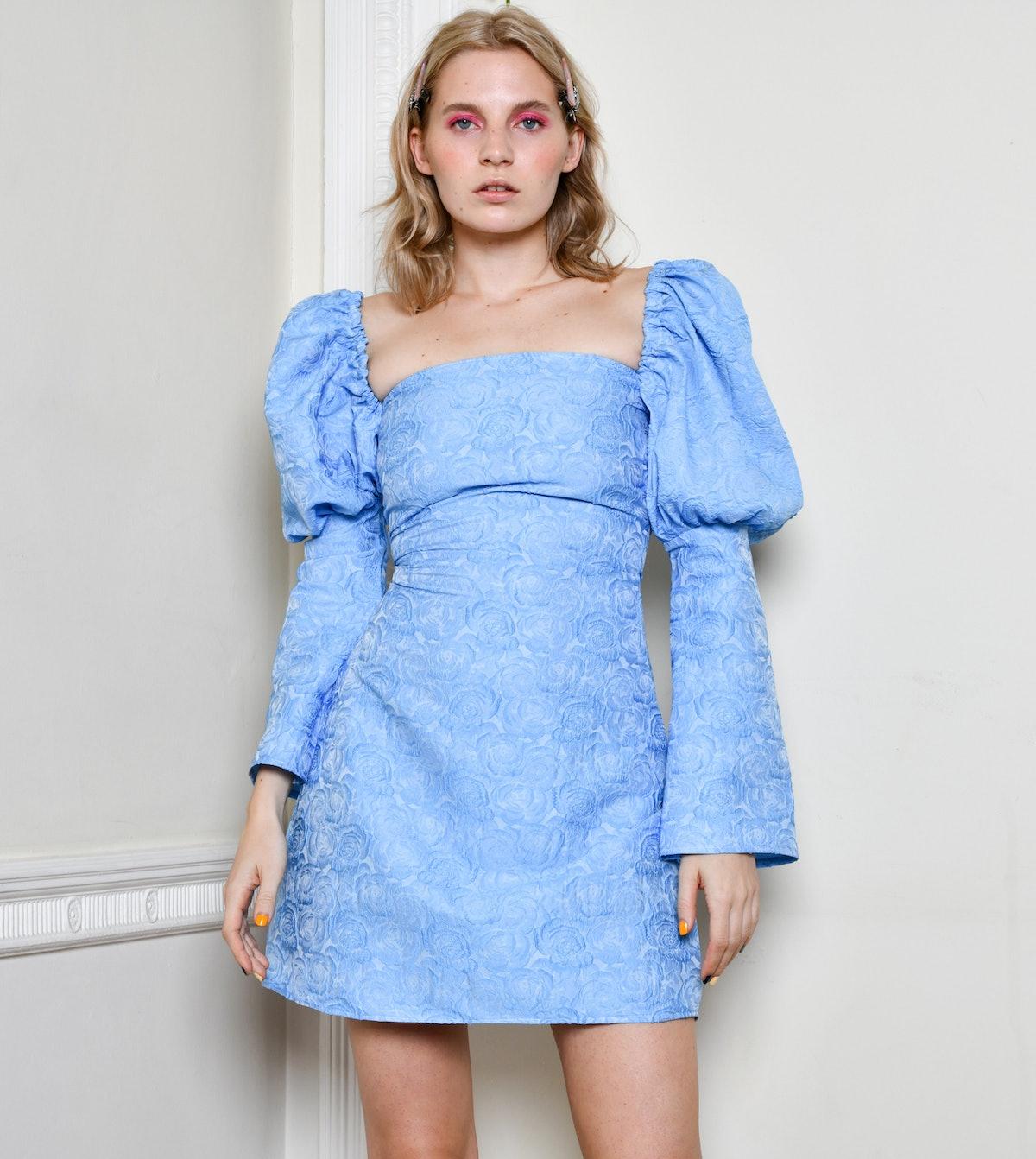 The Ophelia Dress Brocade Blue