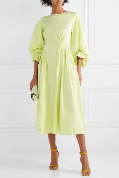 Grosgrain-Trimmed Shirred Cotton-Poplin Midi Dress