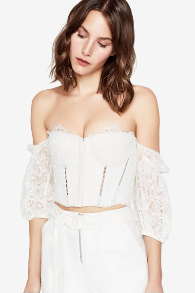 Multimedia Corded Lace Puff Sleeve Bustier
