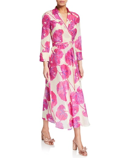 Collared Leaf-Print Long Wrap Dress