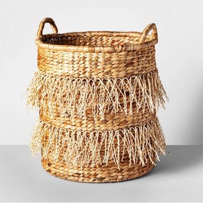 Water Hyacinth Fringe Basket Natural