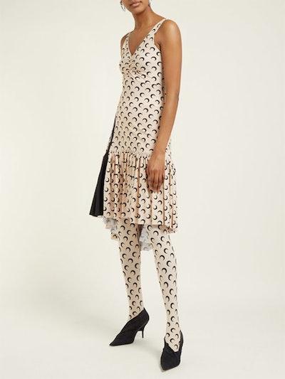 Crescent Moon-Print Stretch-Jersey Dress