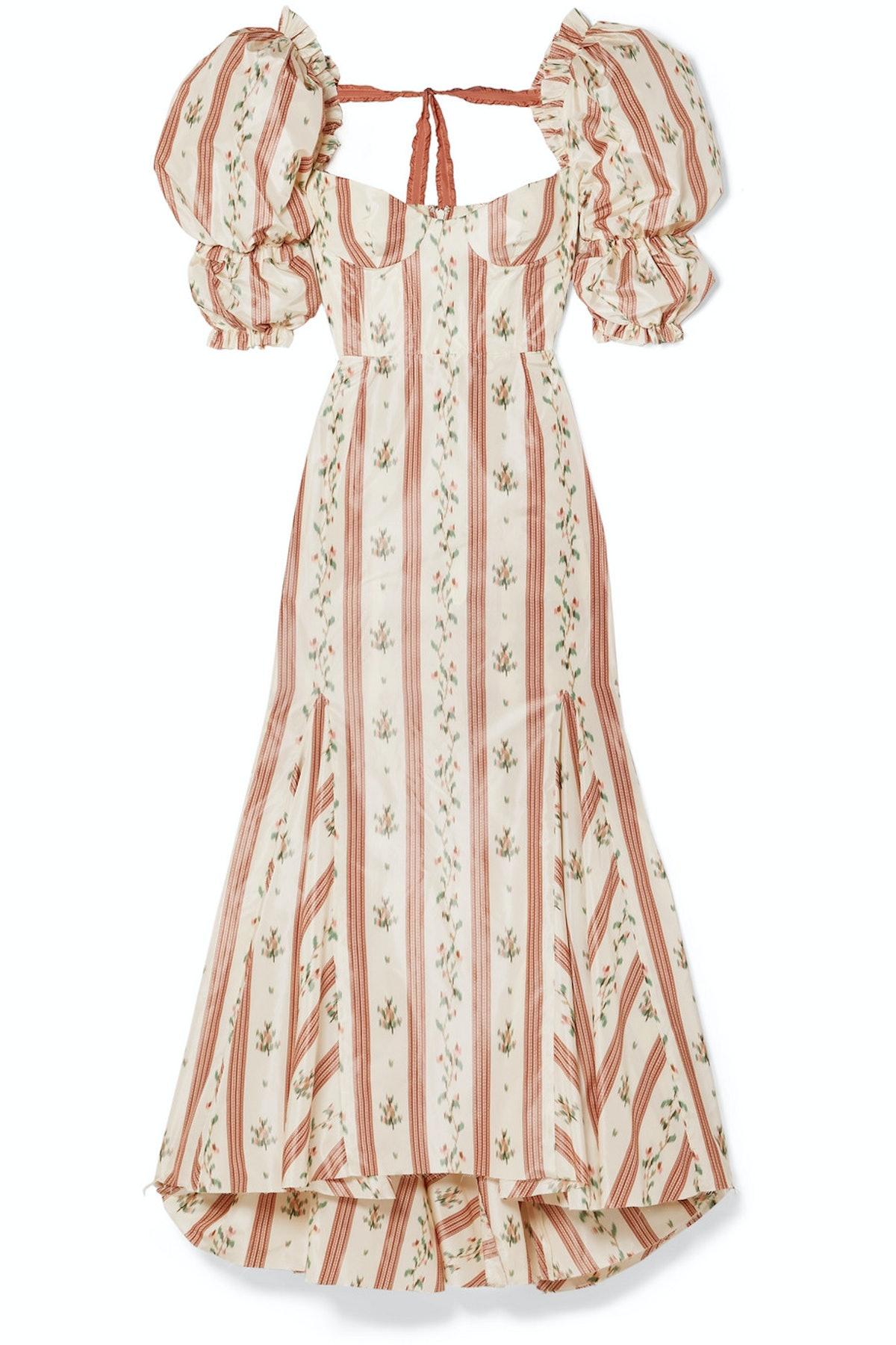 Olya Floral Print Fishtail Taffeta Dress