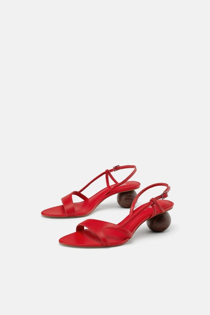 Round Heeled Leather Sandals