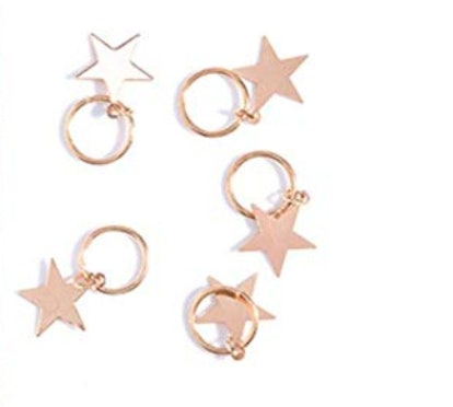 SODIAL 10pcs Lady Girls Cute Shiny Silver & Gold Star Hair Rings