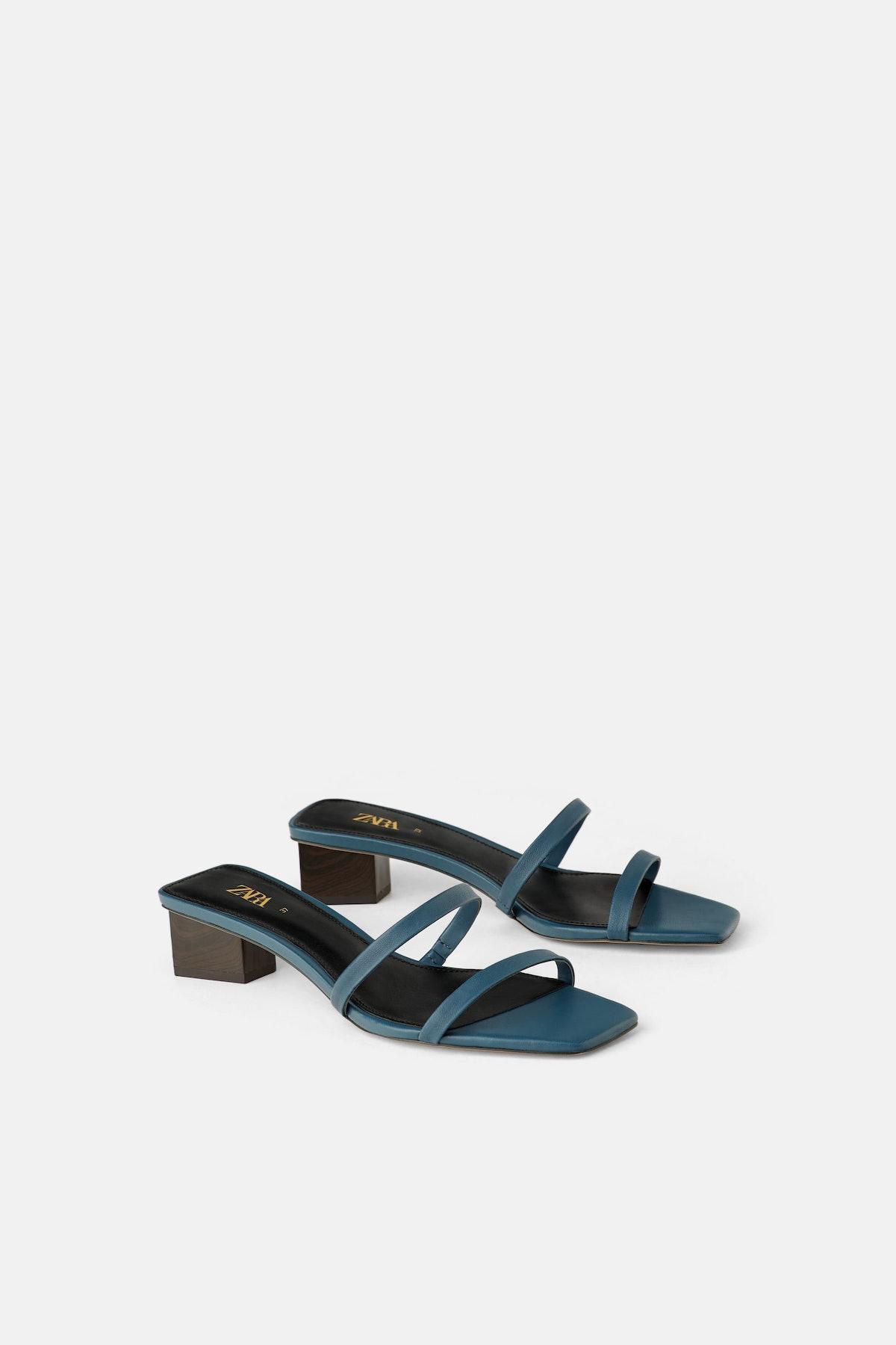 Wood Heeled Leather Sandals