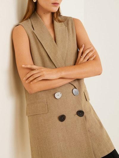 Linen-Blend Pocket Vest
