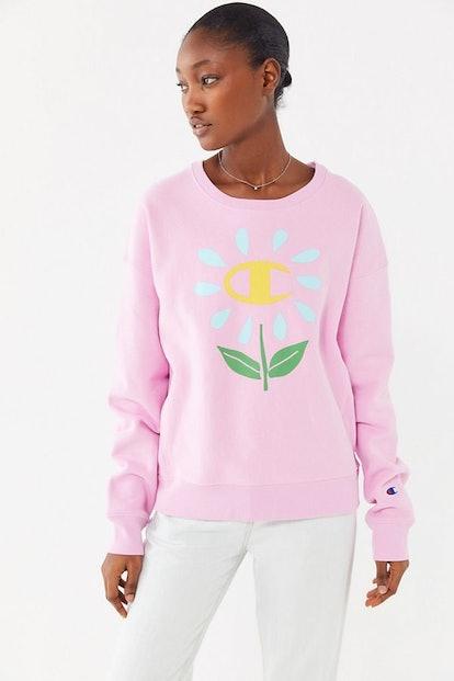 Flower Crew Neck Sweatshirt
