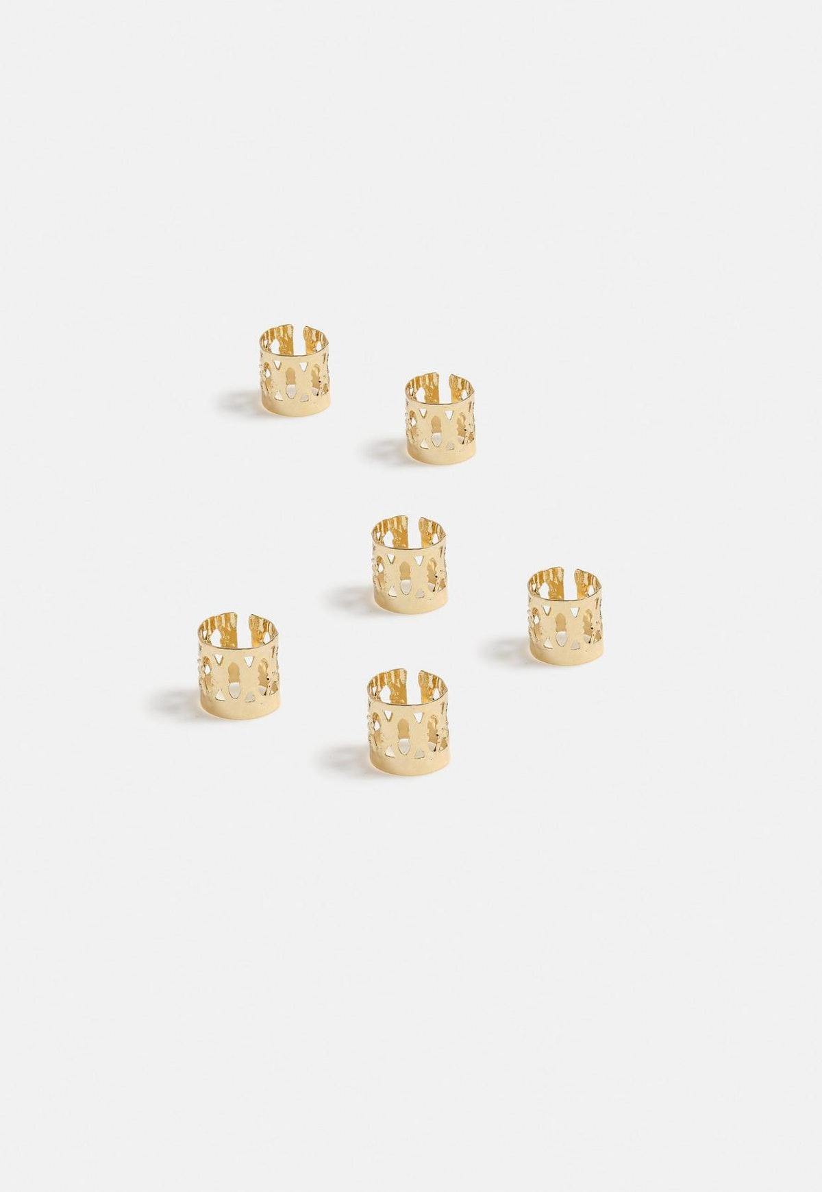 Gold Look Hair Clamp Rings