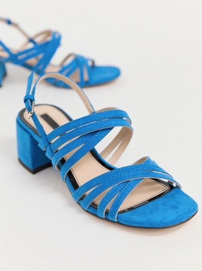 Miss Selfridge Heeled Sandals With Multi Straps In Blue