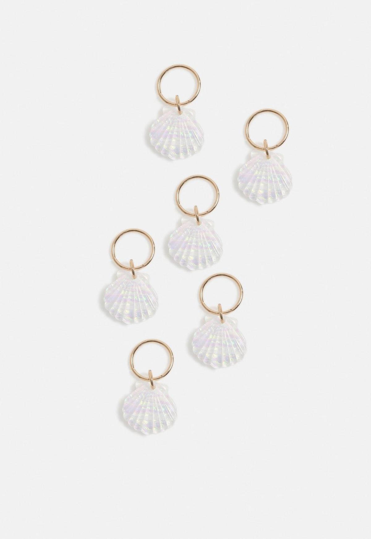 White Shell Glitter Hair Rings