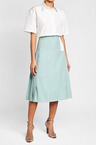 Patch Pocket Virgin Wool Midi Skirt