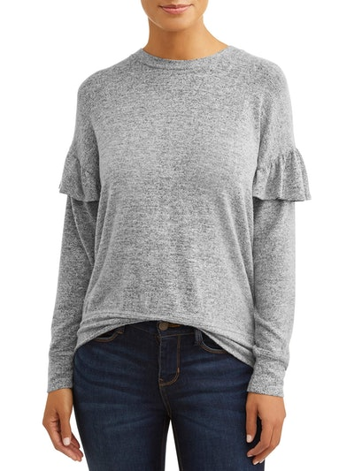 Loramendi Women's Ruffle Trim Pullover Sweater