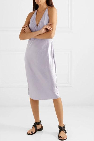 Crinkled-Satin Halterneck Dress