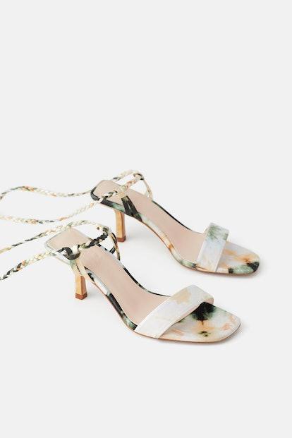 Tie-Dye Woven Strap Heeled Sandals