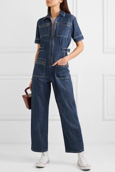 Zip-Embellished Denim Jumpsuit