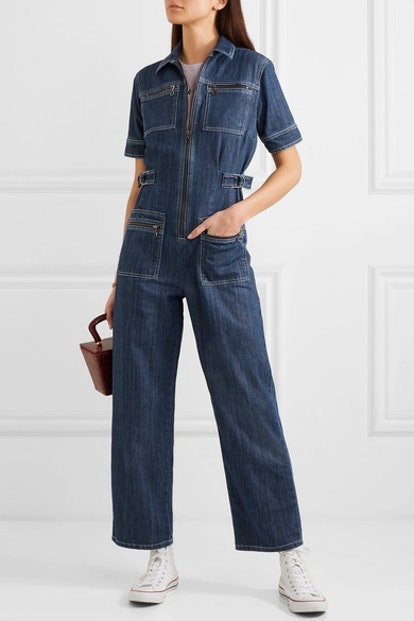 Zip-Embellished Denim Jumpsuit