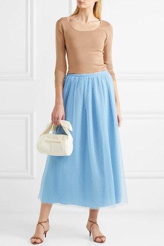 Point D'Esprit Tulle Midi Skirt
