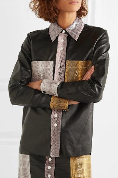 Estasa Watersnake-Trimmed Leather Shirt