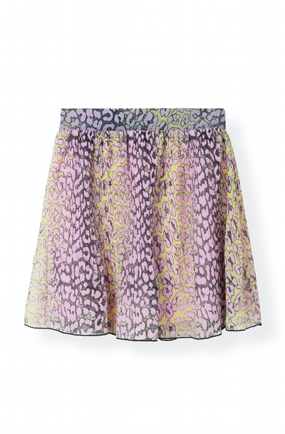 Pleated Georgette Mini Skirt