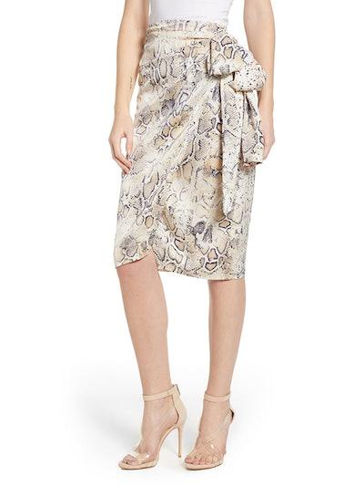 Snakeskin Print Wrap Skirt