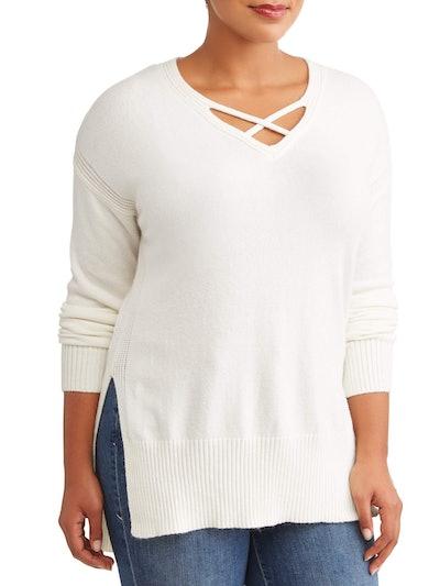 Poof Women's Plus Size Criss Cross Hi Lo Sweater