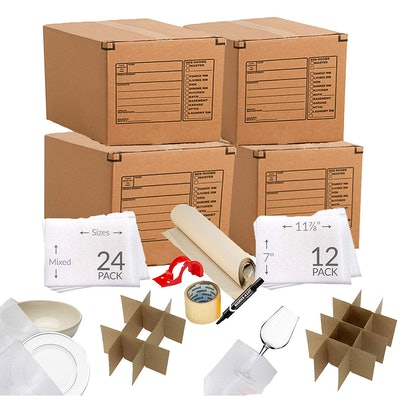 UBOXES Kitchen Moving Box & Supplies Kit (4 Boxes With Supplies)