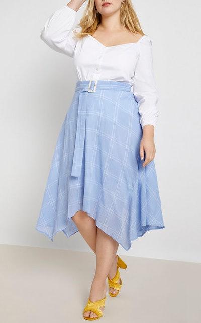 Belted Windowpane Handkerchief Hem Skirt