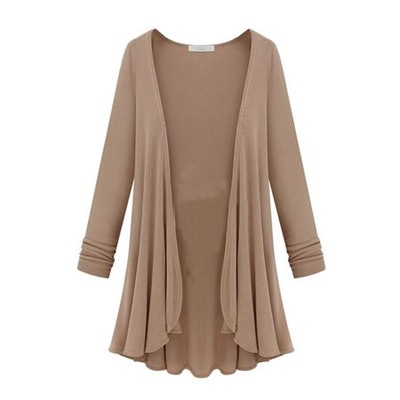 Tommyfit Women Plus Size Solid Color Long Sleeve Open Front Cardigan Coat