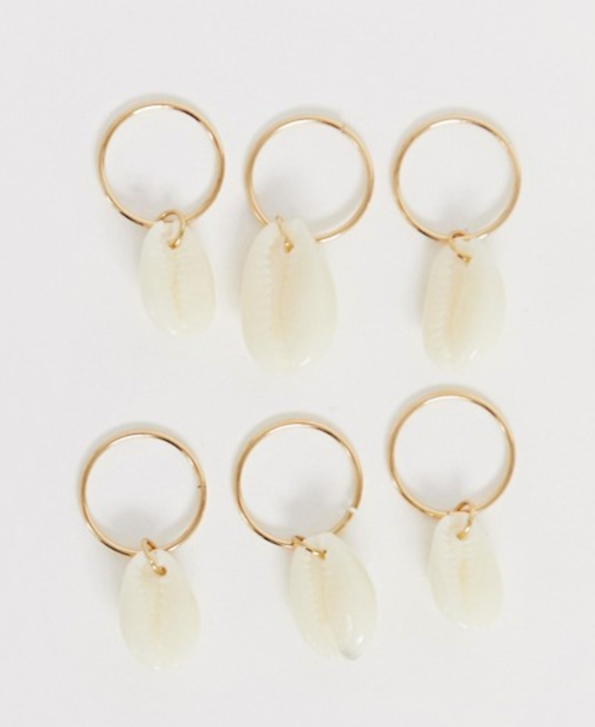 ASOS DESIGN Pack of 6 Hair Rings with Shell Charms in Gold Tone