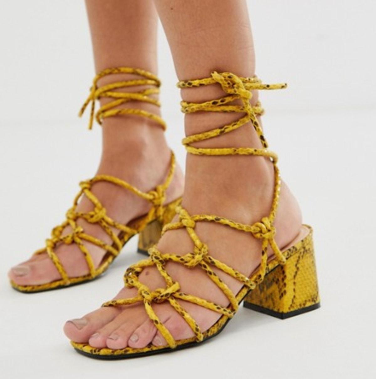 Public Desire Freya Bright Yellow Snake Tie Up Sandals