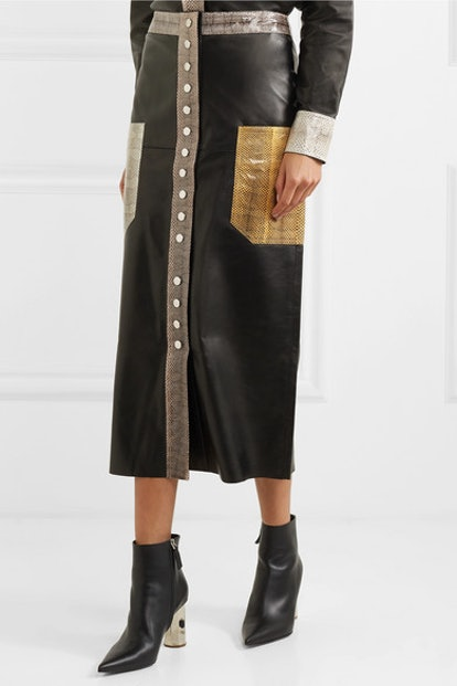 Amalin Watersnake-Trimmed Leather Midi Skirt