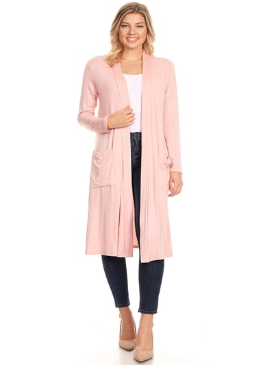 Women's Casual Solid Loose Fit Open Front Soft Duster Cardigan with Side Pockets